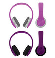 purple headphones vector image