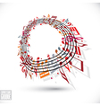 Red music background with clef and notes vector image vector image