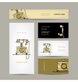 Retro telephone set of business cards for your vector image