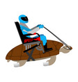 riding turtle racer on reptile isolated on white vector image