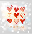 saint valentine s day greeting card with red vector image vector image