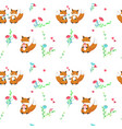 seamless pattern with cute foxes in love vector image vector image