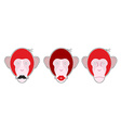 Set mask red monkey Monkey with moustache Monkey vector image