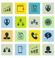 Set of 16 management icons includes curriculum vector image