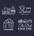 set of vintage bakery logos retro labels vector image