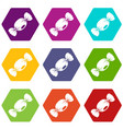 small candy icon set color hexahedron vector image vector image