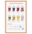 smoothie menu for cafe and juice bar hand drawb vector image vector image
