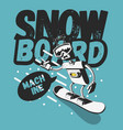 snowboard tee print design with a robot vector image vector image