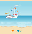 summer holiday 2019 concept with sailboat vector image vector image