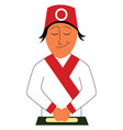 sushi chef on white background vector image