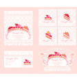 sweet dessert cake card set vector image vector image