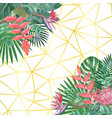tropical flower and geometric background vector image vector image