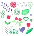 Watercolor set of floral design elements vector image vector image