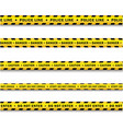 yellow black police tape set isolated vector image vector image