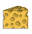 cheese slice watercolor silhouette on white vector image