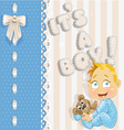 Its a boy blue lovely announcement card vector image