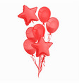 a bunch red balloons isolated on white vector image