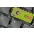 A keyboard with a key reading Go Green