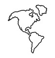 america map icon in black and white vector image