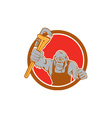 angry gorilla plumber monkey wrench circle cartoon vector image vector image