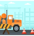 Background of concrete mixer on construction site vector image