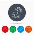 Beach umbrella in sand icon Bucket with shovel vector image vector image
