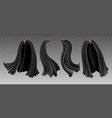 black cloak set on transparent vector image vector image