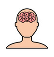 brain faceless man cartoon vector image