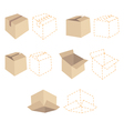 Brown cardboards and orange schemes of boxes vector image vector image