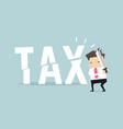 businessman cut tax with sword business concept vector image vector image