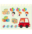 children and different toys vector image vector image