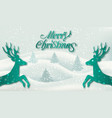 christmas congratulation background with deers vector image