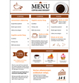 coffee and dessert menu flat design vector image vector image