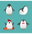Collection of cute cartoon penguins characters