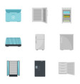 commercial fridge icon set flat style vector image