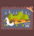 concept poster of peru with lama and landmarks vector image vector image