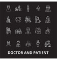 doctor and patient editable line icons set vector image vector image