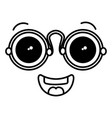 face kawaii with glasses character vector image vector image