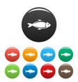 fish icons set color vector image vector image
