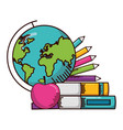 globe books pencils school supplies vector image vector image