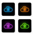 glowing neon cloud icon isolated on white vector image vector image