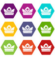 gold crown icons set 9 vector image vector image