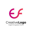 gradient circular initial letter e and f business vector image vector image