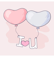 Hand drawn heart balloons holding letters vector image vector image