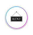 hanging sign with text rent icon isolated on white vector image vector image