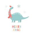holiday dino in santa hats hand drawn card vector image vector image