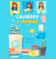 home laundry and ironing service poster vector image vector image