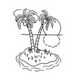 island with two coconut trees cartoon hand drawn vector image