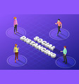 isometric web banner people keep distance in vector image