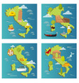 italy travel map attraction tourist symbols vector image vector image